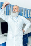 Senior bearded scientist in white coat looking at tube with reagent in chemical laboratory. Pensive senior bearded scientist in white coat looking at tube with Stock Image