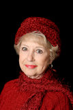 Senior Beauty In Red Royalty Free Stock Image