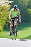 Senior with bicycle for fitness. Active senior with bicycle for fitness Royalty Free Stock Image