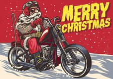 Senior Biker wear santa claus costume and riding a chopper motor royalty free illustration