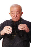 Senior with binoculars Stock Image