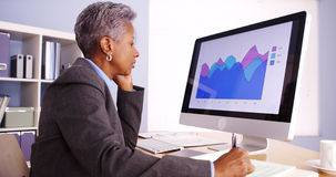 Senior black businesswoman working in office Royalty Free Stock Photo
