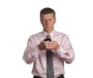 Senior with blackberry Royalty Free Stock Images