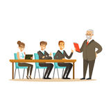 Senior boss explaining to young colleagues business ideas vector Illustration stock illustration