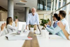 Senior boss holds a meeting for younger colleagues Royalty Free Stock Photos