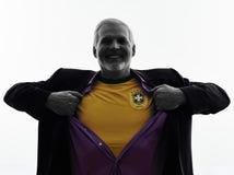 Senior brazilian supporter fan man silhouette. One Caucasian Senior Brazilian Supporter Fan Man Silhouette White Background stock image