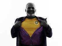 Senior Brazilian supporter fan man silhouette Stock Images