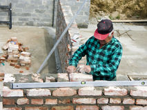 Senior bricklayer Stock Images