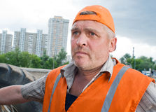 Senior builder at work Royalty Free Stock Image