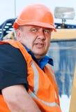Senior builder at work Stock Photo