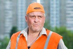 Senior builder at work Stock Image