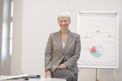 Senior business consultant. Sitting on her desk royalty free stock photo