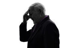 Senior business headache man silhouette Stock Photo