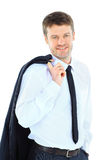 Senior business man. Portrait of a successful business executive holding his coat over shoulder on white background Royalty Free Stock Images