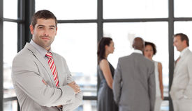Senior Business Man with arms folded team Royalty Free Stock Photos