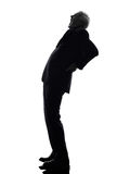 Senior business man backache pain silhouette Stock Photography