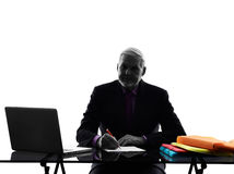 Senior business man busy working  silhouette. One Caucasian Senior Business Man busy working  Silhouette White Background Stock Image