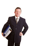 Senior business man carrying files Stock Photos