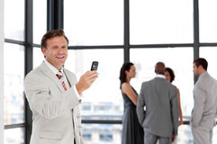 Senior business man on phone Royalty Free Stock Photos