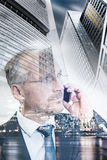 Senior business man on phone, finance architecture background, d Royalty Free Stock Photos