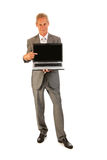 Senior business man pointing to laptop Royalty Free Stock Image