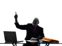 Senior business man Pointing Up silhouette Royalty Free Stock Image