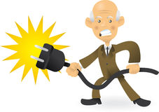 Senior Business Man Pulling The Plug Royalty Free Stock Images