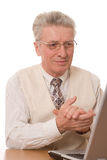 Senior business man sitting Stock Photo