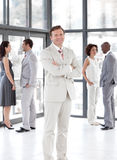 Senior Business man standing Business team Stock Images
