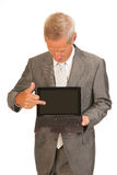 Senior business man with tablet stock photo