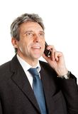 Senior business man talking on cellphone Royalty Free Stock Image