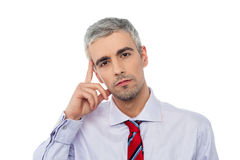 Senior business man thinking stock images