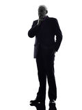 Senior business man thinking silhouette Stock Photos