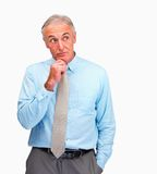 Senior business man thinking on white background Stock Images