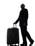 Senior business man traveler traveling silhouette. One Caucasian Senior Business Man traveler traveling Silhouette White Background Royalty Free Stock Image