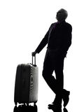 Senior business man traveler traveling silhouette Royalty Free Stock Photo