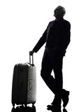 Senior business man traveler traveling silhouette Royalty Free Stock Images