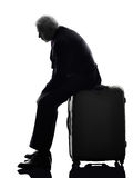 Senior business man traveler traveling waiting Royalty Free Stock Photography