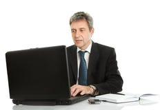 Senior business man working on laptop Royalty Free Stock Images