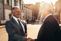 Senior business men greeting with a handshake. Smiling senior men shaking hands with male colleague outdoors on a sunny day. Two business men greeting each other royalty free stock photos