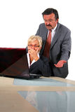 Senior Business People In Front Of Laptop Royalty Free Stock Images