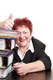Senior business woman holding Stock Photo