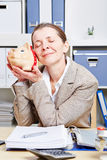 Senior business woman with piggy Royalty Free Stock Photo
