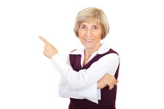 Senior business woman  pointing Royalty Free Stock Photography