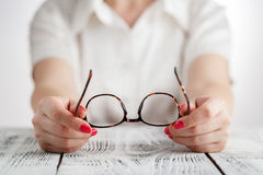 Senior business woman portrait with eyeglasses. Royalty Free Stock Photography