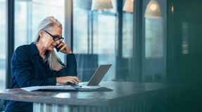 Senior business woman talking on cell phone. While working on laptop in office. Mature female using laptop and talking on mobile phone stock image