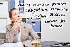 Senior business woman thinking Stock Photo