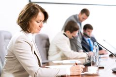 Senior business woman working with documents Stock Images