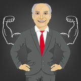 Senior businessman against background of depicted muscles on chalkboard Royalty Free Stock Images