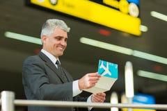 Senior businessman airport Stock Photo